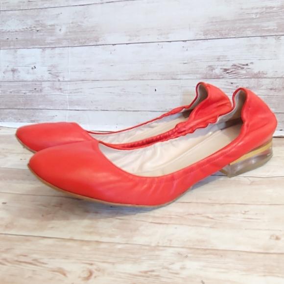 Chloe red clear heel ballet flats